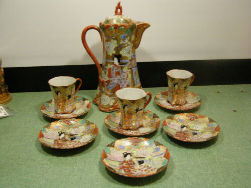 JAPANESE SATSUMA KUTANI TEA, CHOCOLATE POT & 3 CUPS, 6 SAUCERS