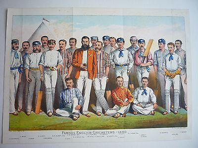 "CRICKET. "" FAMOUS ENGLISH CRICKETERS,--1880."" 1881 RARE."