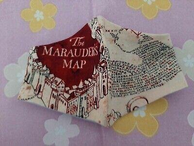 Gr. XS-Harry Potter Map /Kinder- Mund-Nasen-Schutz/Maske/BW (UNIKAT)hellblau