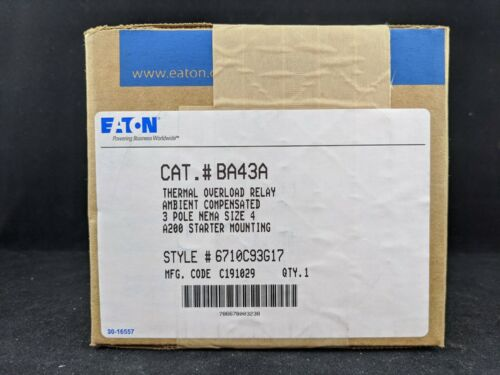 Eaton BA43A TYPE B BLOCK OVERLOAD RELAY 3P SIZE 4 AMB COMP FOR STARTER