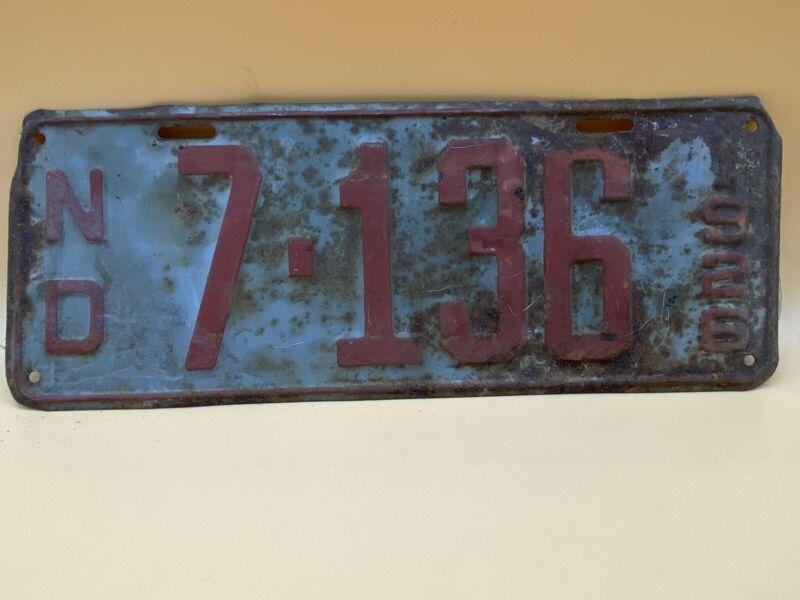 Vintage 1926 North Dakota License Plate Number 7-136