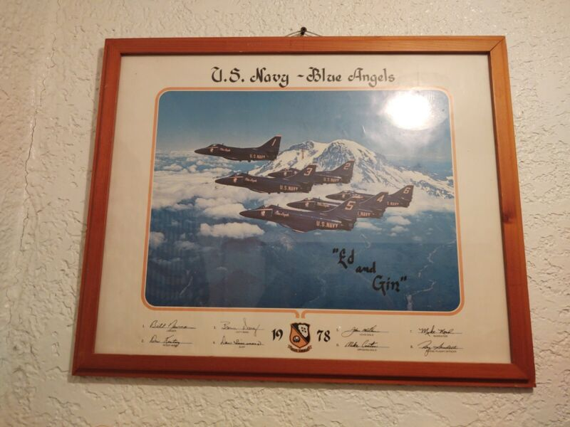 Vintage 1978 U.S. NAVY BLUE ANGELS TEAM PRINT! SIGNED! PROFESSIONALLY FRAMED!