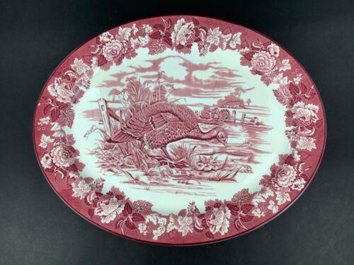 Antique Enoch Woods Burslem Turkey Red Transferware 21 1/2 Inch Oval Platter