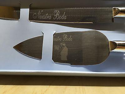 NEW Nuestra Boda OUR WEDDING Gold acrylic jeweled handle cake knife 2 pc set](Cake Knife Set)