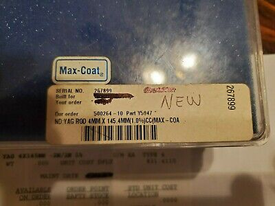 Nd Yag Laser Rod Crystal 2m2m 1.0 Nd - Used 4mm X 145.4 Mm - New