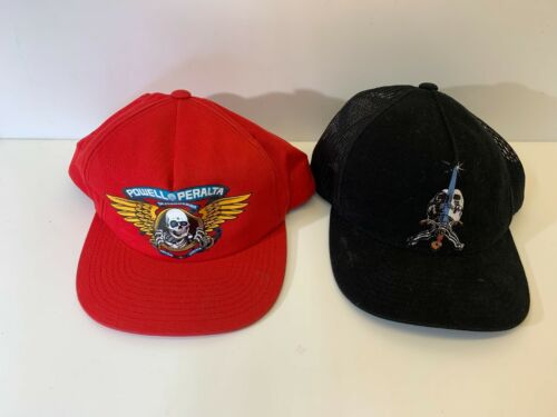 A-745 Vintage Rare Powell Peralta 2 Hats Red Black trucker