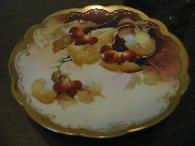"""Fabulous Pickard Hand Painted Plate """"Currants"""" 24k Gold 6"""" signed REAN"""
