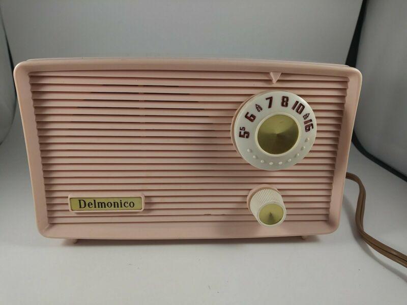 Vintage Delmonico Pink AM Radio - Model 602 - Tube - Working Condition