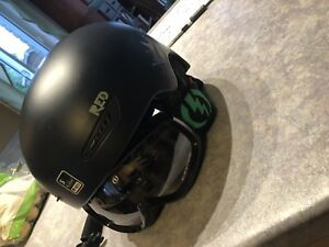 Snowboard helmet and electric goggles