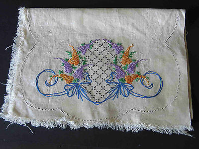 """Hand Embroidered Vintage Dresser Scarf Grapes Cross Hatch Ribbon13.5x40"""" FREE SH"""