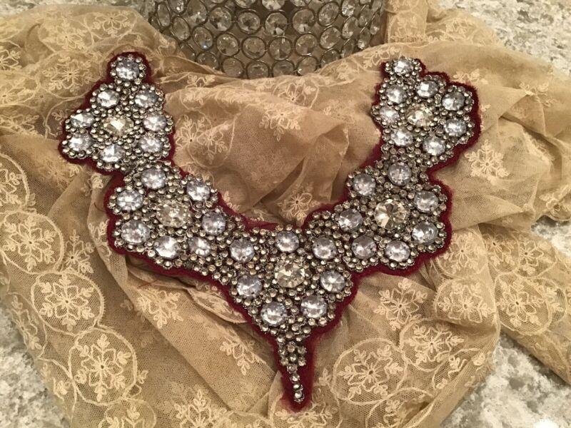shabby Vtg  Bibb Collar Jeweled Rhinestone Red Fabric Christmas victorian style