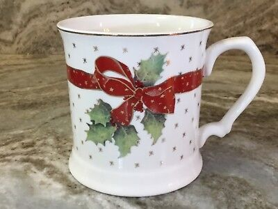 (Grace Fine Porcelain Coffee Mug Big Red Bow With Gold Accents. New.)