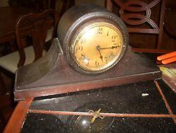 Vintage Clock Mantel Gilbert 1800s Camel Back Shelf Chime Wood Key Pendulum Old