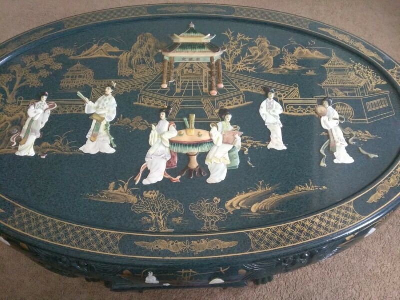 Used jade colored Oriental Coffee Table Inlaid Pearl and Jade?  images.