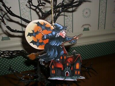 HANDCRAFTED IN USA HALLOWEEN ORN/-G.DEBREKHT ARTISTIC STUDIOS-WITCH NIGHT RIDE . (Halloween Night In Usa)