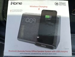 iHome Wireless Charging Bedside/Home office Speaker System + Dual Charging