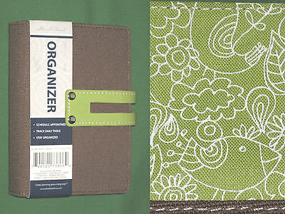 3x5 0.75 Green Fabric Day Runner Planner Pocket Binder Franklin Covey Floral