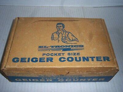 Vintage Pocket Size Geiger Counter Complete W Box El-tronics 1950s Working