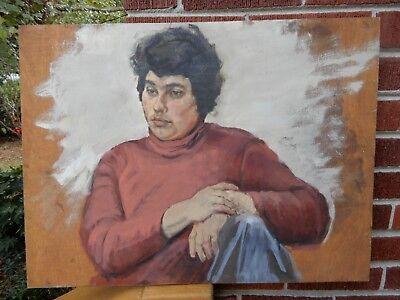 Vintage MOD Hip Male MAN in Plum TURTLENECK Oil on WOOD Painting c1970s ART