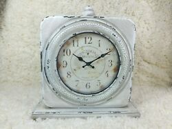 Stonebriar Large 12 Inch Square Antique White Victoria Station Table Top clock