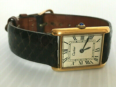 Vintage Cartier 18K Gold Electroplated Manual Wind Tank Watch