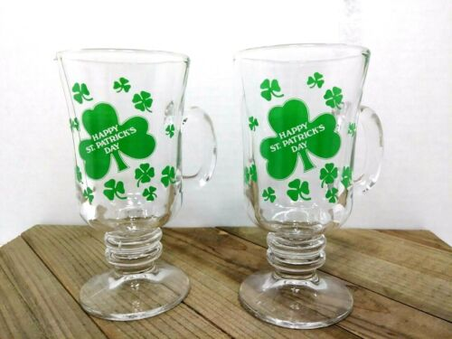 Shamrock Glass Coffee Cups St. Patricks Day Set of 2 8oz