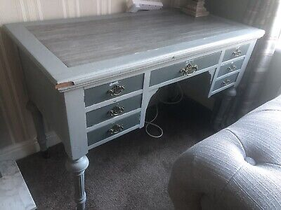Vintage Old Wooden Writing Desk In Grey With Draws Perfect For Lockdown Refurb!