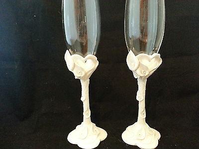 White Calla Lily Lillies wedding toasting glasses champagne reception