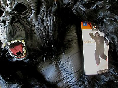 Youth GORILLA Jumpsuit COSTUME L 12-14 NEW Life-Like APE NWT Suit Primate 1pc - Youth Gorilla Costume