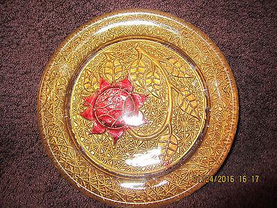 "Vintage Goofus Glass Plate Gold Vines with Crimson Red Flower 5.5"" Diameter"