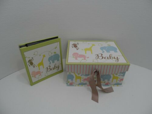 Enchante Baby Boxes Keepsake Storage Box + Photo Album Elephant Giraffe Nursery