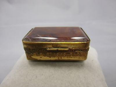 schöne Jugendstil Pillendose mit Achat Gold Double um 1900