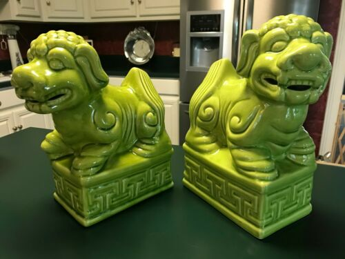 """2 Chinese Foo Dog Guardian Lion Statues Figurines Large 12.5"""" Tall Lime Green"""