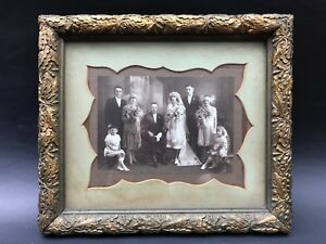 Antique Vintage Picture Photo frame with early wedding photo 1900
