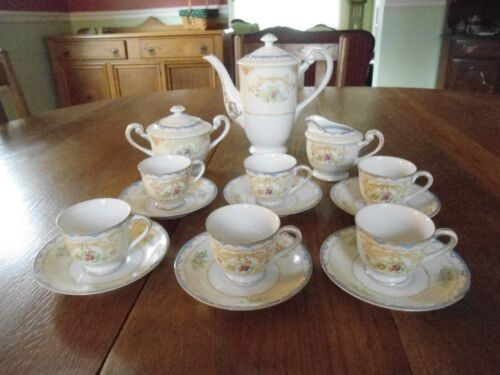 17-Piece Demitasse Coffee/Tea Set by Shofu China made in Occupied Japan Hand Pai