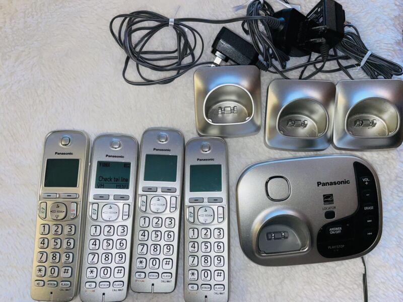 Panasonic Cordless Phone System Set 5 Answering Machine Silver Color