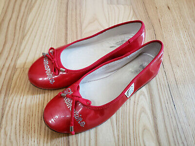 MISS BLUMARINE Girl's Red Patent Leather Shoes with Rhinestone Detail - Italy