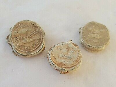 Lovely lot of three very old lead bag seals. Please read description. L155p