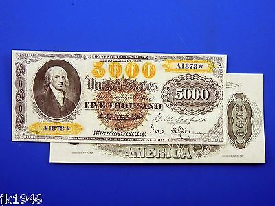 Reproduction $5000 1878 LT US Paper Money Currency Copy