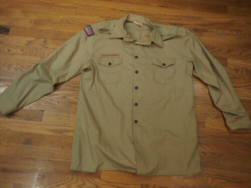 BSA BOY SCOUT SHIRT - ADULT  (Tan) LONG SLEEVE - OFFICIAL BSA 597L XL