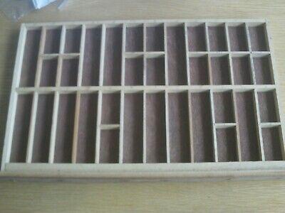 Original, vintage wooden, letterpress  printers tray15.5 x 9.75inches Tray No 4