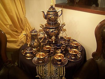 ANTIQUE SAMOVAR  -  BLUE AND GOLD  PORCELAIN -OTTOMAN TEA SET 17 PIECES  ! ! ! on Rummage