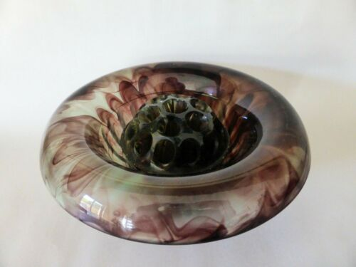 Antique Marbled Glass Rose Bowl & Flower Frog, Art Nouveau Purple & Green Bowl