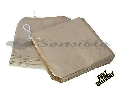 100 x STRUNG KRAFT BROWN PAPER FOOD BAGS - 8.5 X 8.5