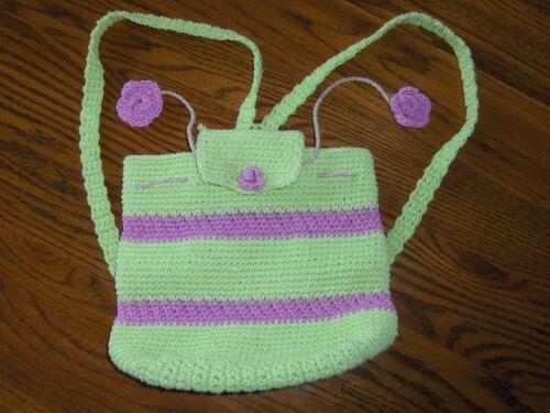 Hand & Heart Crochet Backpack Little Girls Purse Tote Bag Green Purple Striped
