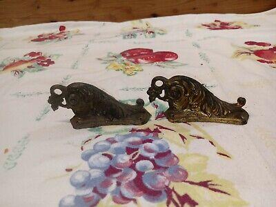 2 VTG Mantle Shelf Clock Cast metal Brass Scrolls Ornate Matching Parts Repair *