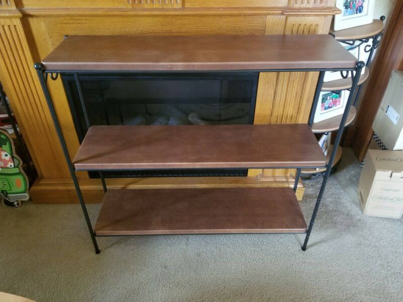 LONGABERGER Wrought Iron 3 TIER BOOKCASE w/ ALL 3 WoodCrafts Rich Brown Shelves