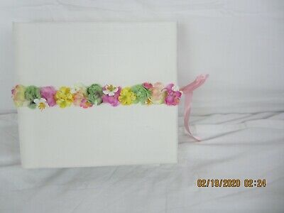 Medium Hardbound Photo & comment Album in silk with Flowers tie close Medium Photo Album