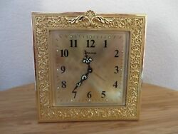 BULOVA ORNATE DESIGN BRASS CLOCK TABLE TOP ALARM CLOCK SQUARE ON EASEL