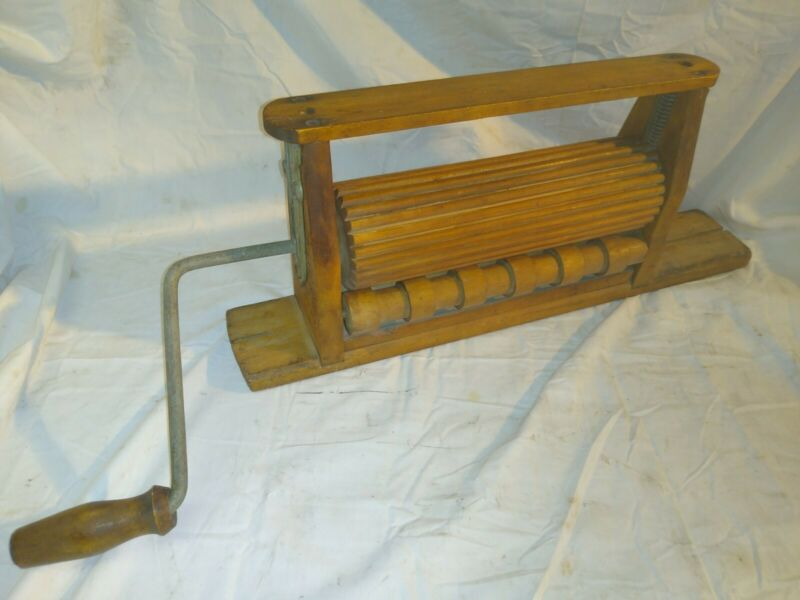 Antique Primitive Advertising Wood Clothes Crank Wringer F.F. Adams 1872 Erie PA